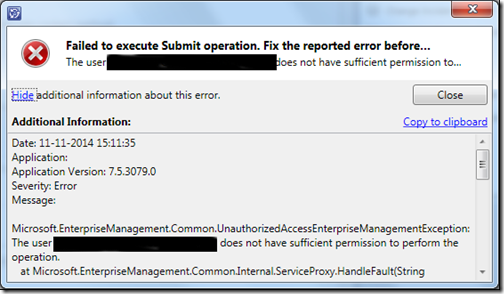 SCSM 2012: Failed to execute Submit Operation, event id 26319