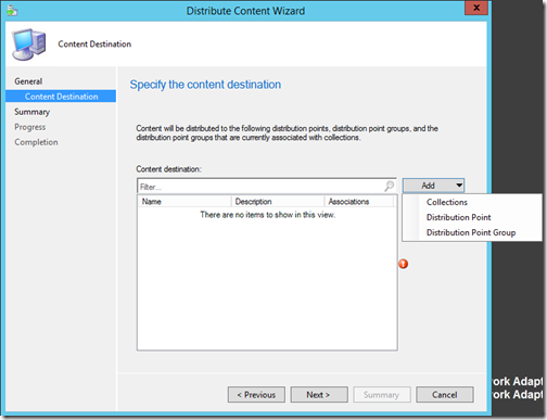 Distributing content to Distribution points and Distribution point groups in ConfigMgr 2012