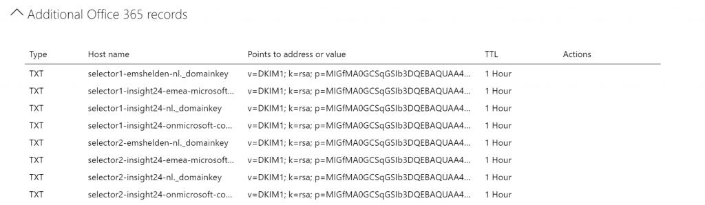 A Additional Office 365 records  ; —rsa,  ; —rsa,  ; —rsa,  ; —rsa,  ; —rsa,  ; —rsa,  ; —rsa,  ; —rsa,  Type  TXT  TXT  TXT  TXT  TXT  TXT  TXT  TXT  Host name  selectorl-emshelden-nl._domainkey  selector I-insight24-emea-microsoft...  selector I-insight24-nl._domainkey  selector I-insight24-onmicrosoft-co...  selector2-emshelden-nl._domainkey  selector2-insight24-emea-microsoft...  selector2-insight24-nl._domainkey  selector2-insight24-onmicrosoft-co...  Points to address or value  TTL  Actions  v=DKlM1  v=DKlM1  v=DKlM1  v=DKlM1  v=DKlM1  v=DKlM1  v=DKlM1  v=DKlM1  • p=MIGfMAOGCSqGSlb3DQEBAQUAA4...  • p=MIGfMAOGCSqGSlb3DQEBAQUAA4...  • p=MIGfMAOGCSqGSlb3DQEBAQUAA4...  • p=MIGfMAOGCSqGSlb3DQEBAQUAA4...  • p=MIGfMAOGCSqGSlb3DQEBAQUAA4...  • p=MIGfMAOGCSqGSlb3DQEBAQUAA4...  • p=MIGfMAOGCSqGSlb3DQEBAQUAA4...  • p=MIGfMAOGCSqGSlb3DQEBAQUAA4...  1  1  1  1  1  1  1  1  Hour  Hour  Hour  Hour  Hour  Hour  Hour  Hour