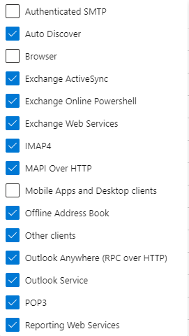 Machine generated alternative text: Authenticated SMTP  Auto Discover  Browser  Exchange ActiveSync  Exchange Online Powershell  Exchange Web Services  I M APA  MAPI Over HTTP  Mobile Apps end Desktop clients  Offline Address Book  Other clients  outlook Any*ere over HTV)  Outlook Service  Reporting Web Services