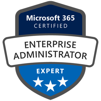 Machine generated alternative text: Microsoft 365  CERTIFIED  ENTERPRISE  ADMINISTRATOR  EXPERT