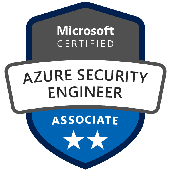 Machine generated alternative text: Microsoft  CERTIFIED  AZURE SECURITY  ENGINEER  ASSOCIATE